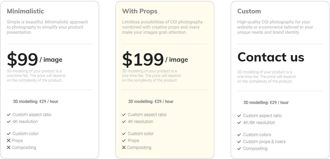 Product photography prices for creative images