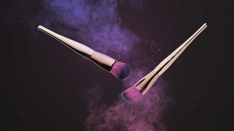 Creative product photography of cosmetic brushes