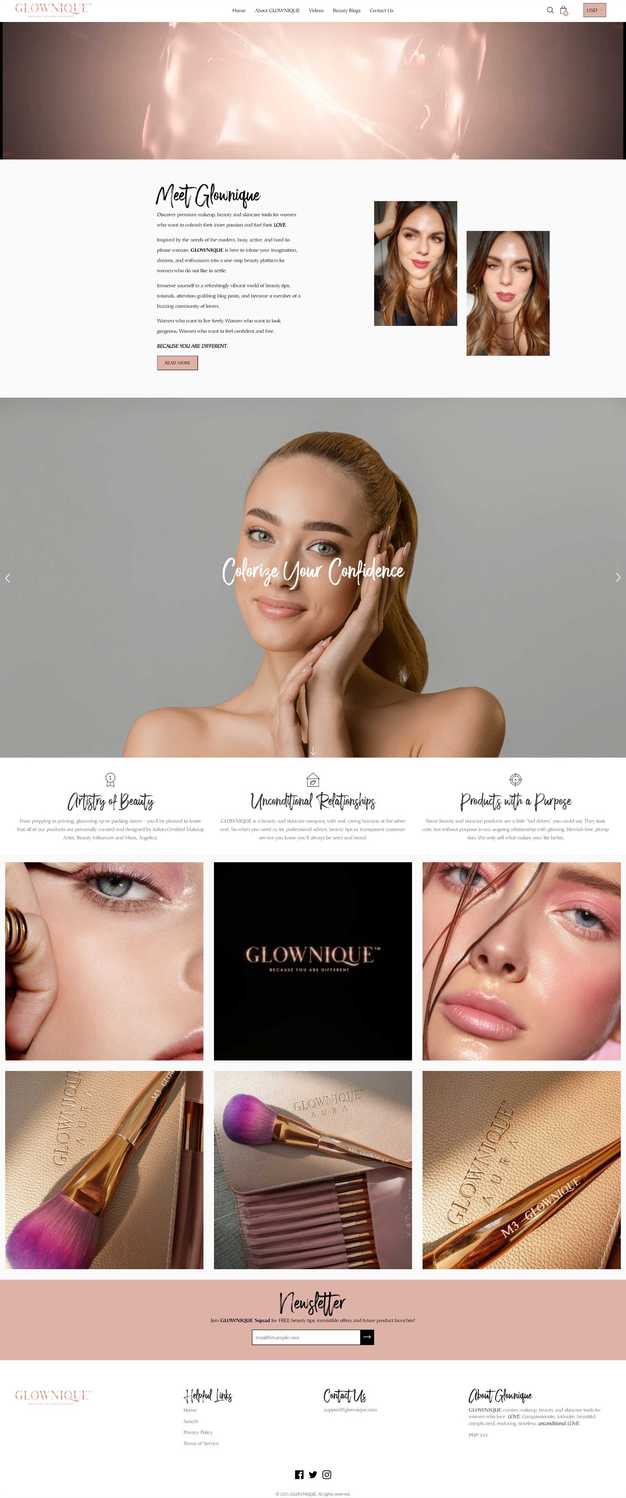 Glownique - makeup brushes website