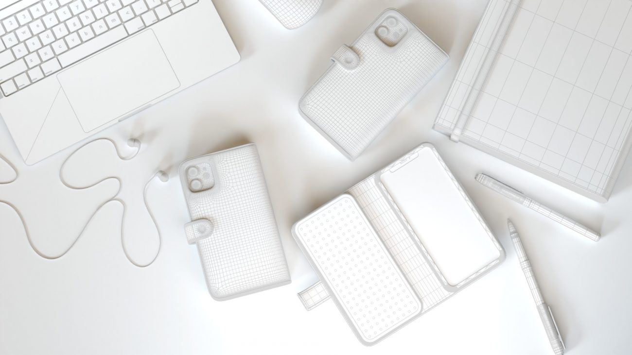 Wireframe model of a phone case